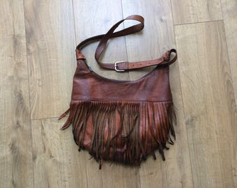 Vintage Brown Leather Fringed Hobo Shoulder Bag - Soft, Unstructured