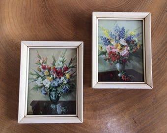 Pair 2 Vintage Mid Century  Miniature 'Flower Bouquet' Prints - framed, glazed, Vernon Ward?