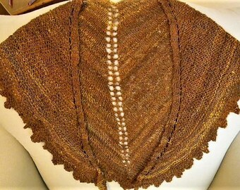 Knit scarf, shawl, handspun yarn, merino wool, boho, shoulder scarf, handmade