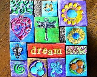 decorated box, polymer clay mosaic, mosaic tiles, dragonfly, trinket box, keepsake box, intention box, God box, prayer box