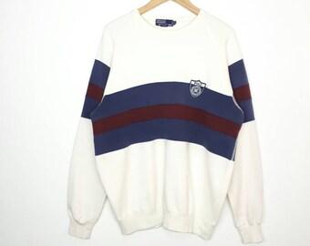 Vintage Polo Ralph Lauren Sweatshirt / Striped / Multicolor / P92 / Pwing / Polo Sweatshirt