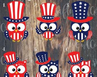 4th of July, Patriotic Owl, OwlFlag , American Flag Monogram , 4th of July, Fourth of July, Flag Decal, American Flag Decal, Yeti Flag Decal