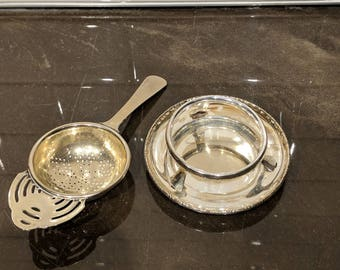 Silver Plated tea Strainer and Stand, English EPNS strainer