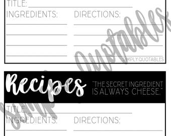 Printable/Digital Recipe Cards