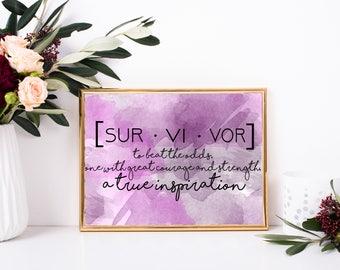 Survivor definition, cancer survivor present, survivor quote, Printable Quote, Digital Wall Art, Digital Art, Printable art, framed quote