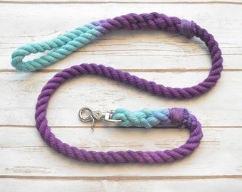 Mermaid Rope Dog Leash: Aqua and Purple Rope Dog Leash