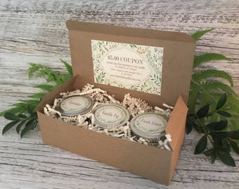 Introductory Sample Set/Candle Gift Set/Linden HillNatural Coconut Wax Candles/ Farmhouse Candles/Vintage Style Candles