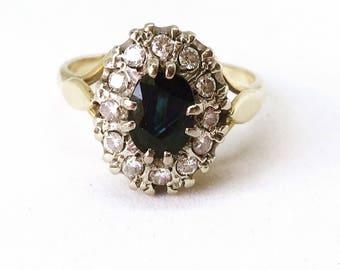 Vintage 18ct Gold Sapphire & Diamond Cluster Engagement Ring, Diamond Ring, Sapphire Ring Diamond Cluster Ring, Anniversary, Wedding Ring