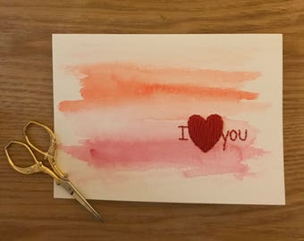 I love you watercolor and embroidery card