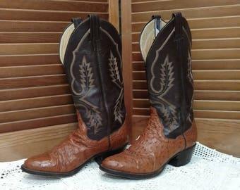 Vintage Panhandle Slim Ostrich Cowboy Boots Men's 6 1/2 B, Women's 8-8 1/2