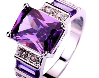 Silver Plated, Purple & Clear CZ Ring