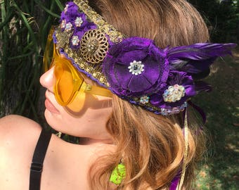 Purple Bohemian Crown Sparkle Aurora Borealis Festival Accessories BoHo Headpiece Antique Gold Trim Purple Fabric Flowers Purple Feathers