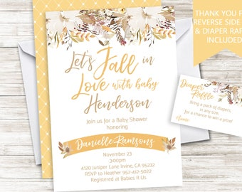 Fall Baby Shower Invite Invitation Digital 5x7 Watercolor Floral Let's Fall In Love Sprinkle Neutral
