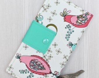 Wallet in Swirly Birds, Womans bifold wallet, womens slim clutch wallet, fabric handmade wallet, card wallet, ID wallet, gift idea