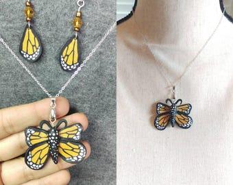 Monarch butterfly set, butterfly pendants, butterfly earrings set butterfly jewelry set.