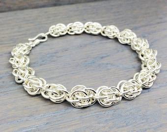 Sterling Silver Bracelet - Fine Jewelry - Sweet Pea Bracelet - Chainmail Bracelet - Sterling Silver Chain - Sterling Bracelet - Gift for Her