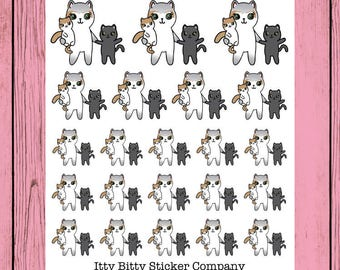 Mommy Duty Mauly - Hand Drawn IttyBitty Kitty Collection - Planner Stickers