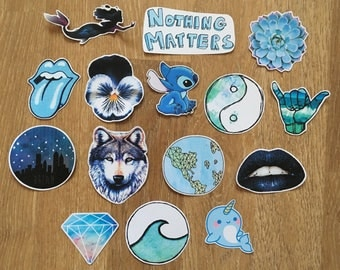 15 cute tumblr/grunge stickers - blue style