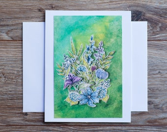 Greeting Art Card A6 with envelope Original art print Floral blank greeting card all occasion paper Stationary mixed media cut out collage