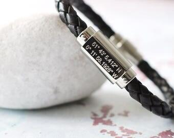 Coordinates Gift - Coordinates Bracelet Men