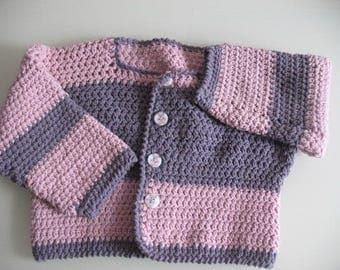 Vest girl cotton pink and purple buttons hand crochet bear