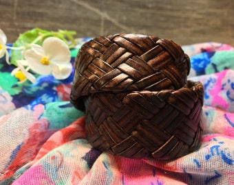 Upcycled Brown Woven Leather Double Cuff Bracelet, Braided Leather Bracelet, Brown Woven Cuff Bracelet, Leather Bracelet, Plain Leather Cuff