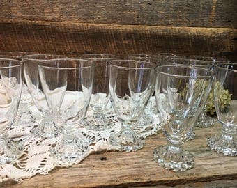 Vintage Anchor Hocking Glasses/Footed/Boopie/Bubble Design/Drinking/Set of 12