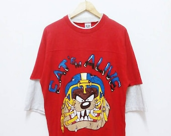 "Hot Sale!!! Rare Vintage 90s Looney Tunes TAZMANIA "" Eat Em Alive "" Double Sided Cartoon T-Shirt Hip Hop Skate Swag Large Size"