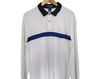 Hot Sale!!! Rare Vintage 90s POLO SPORT by Ralph Lauren Small Pony Snap Button Polo Shirt Hip Hop Skate Swag Large Size