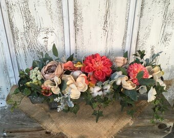 A Galvanized Tin Spring Arrangement, Cotton Pod Arrangement, Summer Arrangement, Table Centerpiece, Long Table Centerpiece