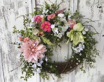 A Spring or Summer Large Floral Wreath, Dahlia Grapevine Door Wreath, Mother's Day, Easter Wreath, Farmhouse Wreath, Wall Wreath