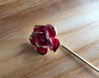Red Flower Stick Pin