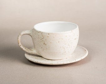 Ceramic pottery coffee mug and saucer with dots 330 ml