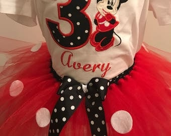 Minnie mouse red black polka dot birthday outfit tshirt tutu embroidered any age