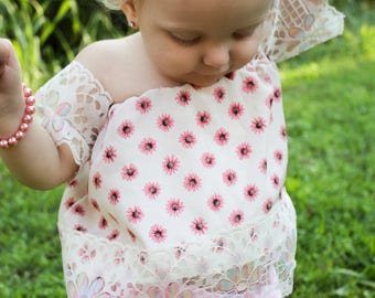 The Loving Off Shoulder Rainbow Lace Pink Daisy Bohemian Boho Top for Baby Toddler Girl Tween