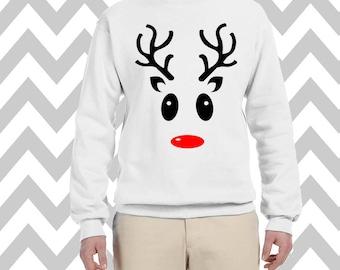 Reindeer Face Unisex Funny Christmas Sweatshirt  Crew Neck Sweatshirt Ugly Christmas Sweatshirt  Fleece Sweatshirt Rudolph Sweatshirt