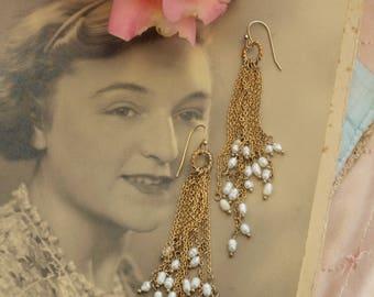 Vintage fresh water pearl cascade earrings