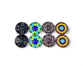 """8 cabochons round glass mixte12mm """"9"""""""