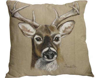 "DEER HEAD PILLOW - (Left Facing)  Decorative Throw Pillow Sham (18"" x 18"")"