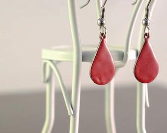 red small teardrop enamel earrings