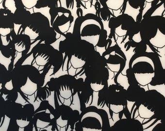 Black & White Girl Silhouettes - Scuba Knit - 1/2 yard or more