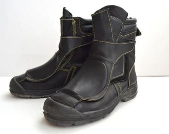 Vintage Black Leather Boots Motorcycle Boots Biker Boots Oil Heat Resistant Engineer Smelter Boots Boots Mens size 11 Made in Australia