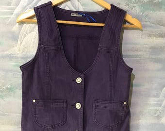 Vintage Purple Denim Vest Women's Fitted Jeans Waistcoat Extra small to Small Denim Vest Secretary Vest Elegant Romantic Lady Vest