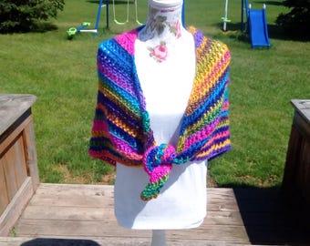 Women's shawl, Crochet Shawl,Colorful Shawl, Women's Wrap, Triangle Scarf,  One Size Fits Most. Prayer Shawl
