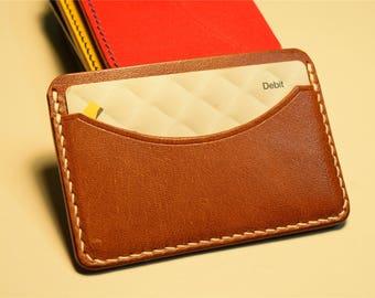 Saddle Tan Kangaroo Leather Card Wallet, Slim Card Wallet, Leather Card Wallet, Personalised