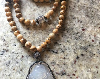 Pave Buddha | Jasper | Wrap Necklace