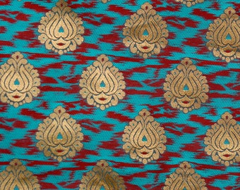 Sky Blue, Red and Golden Flower Brocade Silk Fabric by the yard