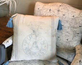 vintage feed grain sack pillow with tassels