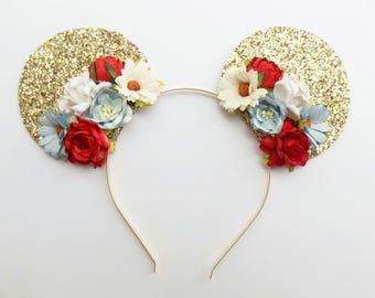 Gold Glitter Patriotic Mickey Ears | Red White + Blue Floral Mickey Ears | Patriotic Mickey Ears | Mickey Ears Headband