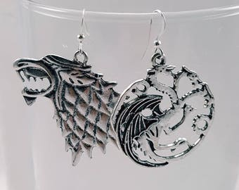 Stark and Targaryen Earrings, Game of Thrones Inspired Earrings, Dire Wolf, Ice and Fire Earrings, Game of Thrones Jewelry
